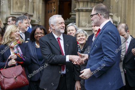 Stock Picture of Labour leader Jeremy Corbyn and Labour MPs welcome Labour's Gareth Snell to the parliament, after his victory in Stoke-on-Trent Central by-election.