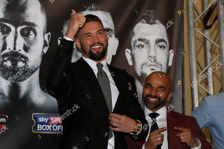 Tony Bellew and trainer David Caldwell during the David Haye v Tony Bellew press conference, at the Hilton Hotel, Liverpool on 27th February 2017