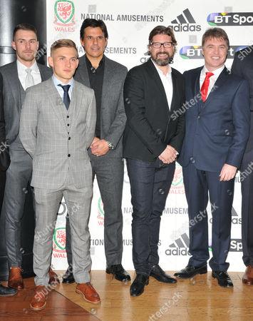 Aaron Ramsey, George Williams, Chris Coleman, guest and Jonny Owen