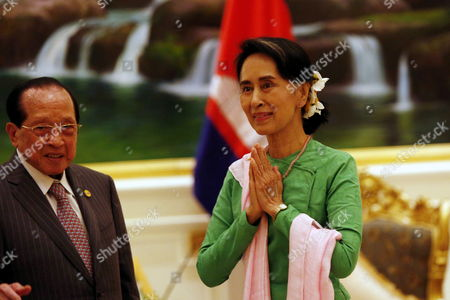 Stock Image of Aung San Suu Kyi and Hor Namhong