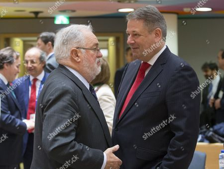 Stock Photo of Miguel Arias Canete and Andrae Rupprechter