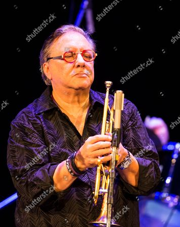 Cuban jazz player Arturo Sandoval performs during a concert in Moscow, Russia, . AP Photo/Alexander Zemlianichenko