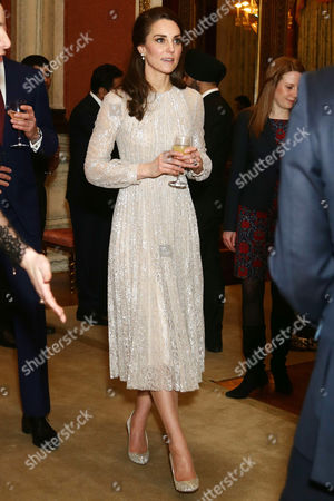 Catherine Duchess of Cambridge during a reception to mark the launch of the UK-India Year of Culture 2017 at Buckingham Palace, London.
