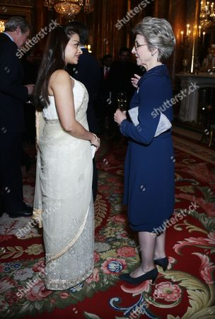 Ayesha Dharker (left) speaks to the Duchess of Gloucester during a reception to mark the launch of the UK-India Year of Culture 2017 at Buckingham Palace, London.