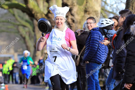 Liz McInnes MP pictured at the Rehab Parliamentary Pancake Race