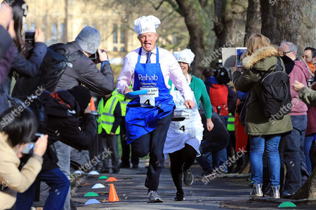 Lord St John of Bletso and Catherine McKinnell MP pictured at the Rehab Parliamentary Pancake Race