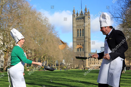 Catherine McKinnell MP and Rob Flello MP pictured at the Rehab Parliamentary Pancake Race