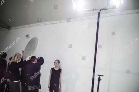 A model poses for a photographer prior to the presentation of the Fall/Winter 2017/18 Ready to Wear collection by Finnish designer Tuomas Merikoski for Aalto fashion house, during the Paris Fashion Week, in Paris, France, 28 February 2017. The presentation of the women?s ready to wear collections runs from 28 February to 07 March.