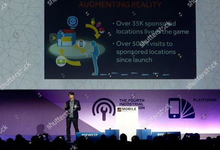Niantic founder and CEO, and creator of Pokemon Go, John Hanke speaks during a keynote at the Mobile World Congress in Barcelona, Spain, . The Mobile World Congress will be held 27 Feb. to 2 March