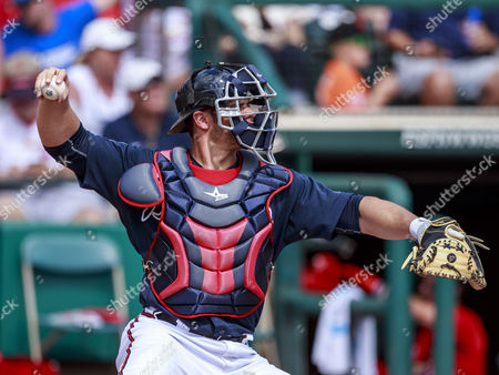 Kissimmee, Florida, USA- Atlanta Braves catcher Anthony Recker (20) in the 3rd inning at Champion Stadium