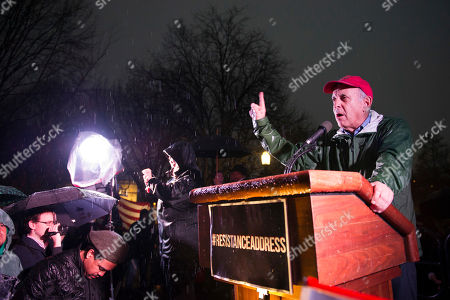 Stock Picture of Larry Cohen of Our Revolution, speaks at a rally calling for resistance to President Donald Trump, in Lafayette Park in front of the White House in Washington