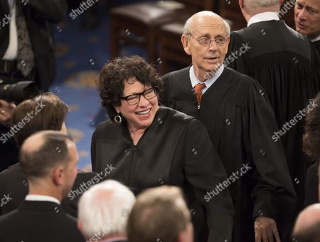 United States Supreme Court Associate Justices Judge Sonia Sotomayor and Stephen G. Breyer arrive to listen to U.S. President Trump address a joint session of Congress