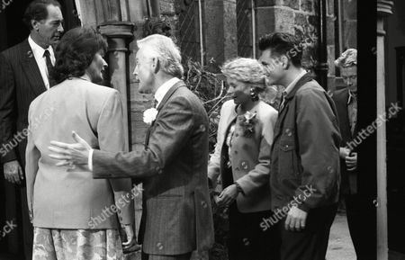 Christopher Chittell (as Eric Pollard), Kate Dove (as Elizabeth Pollard), Glenda McKay (as Rachel Hughes) and Matthew Vaughan (as Michael Feldmann) on the day of Annie and Leonard's wedding (Ep 1812 - 28th October 1993)
