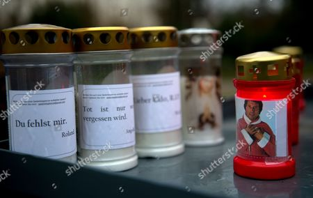 Stock Picture of Memorial Candles Stand Next to the Grave of Austrian-swiss Composer and Singer Udo Juergens at the Zentralfriedhof (central Cemetery) in Vienna Austria 20 December 2015 Juergens Died on 21 December 2014 in Muensterlingen Switzerland Word on Left Candle Read: 'I Miss You ' Austria Vienna