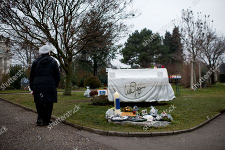 A Woman Looks at the Grave of Austrian-swiss Composer and Singer Udo Juergens at the Zentralfriedhof (central Cemetery) in Vienna Austria 20 December 2015 Juergens Died on 21 December 2014 in Muensterlingen Switzerland Austria Vienna