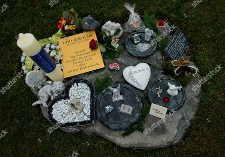 Stock Photo of A View at Memorabilia Next to the Grave of Austrian-swiss Composer and Singer Udo Juergens at the Zentralfriedhof (central Cemetery) in Vienna Austria 20 December 2015 Juergens Died on 21 December 2014 in Muensterlingen Switzerland Austria Vienna