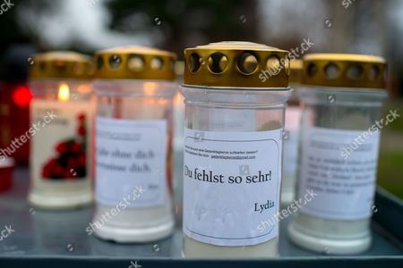 Memorial Candles Stand Next to the Grave of Austrian-swiss Composer and Singer Udo Juergens at the Zentralfriedhof (central Cemetery) in Vienna Austria 20 December 2015 Juergens Died on 21 December 2014 in Muensterlingen Switzerland Word on Left Candle Read: 'I Miss You So Much ' Austria Vienna