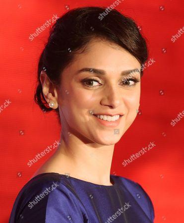 Indian Bollywood Actress Aditi Rao Hydari Smiles During a Promotional Event in Bangalore India 10 July 2015 India Bangalore