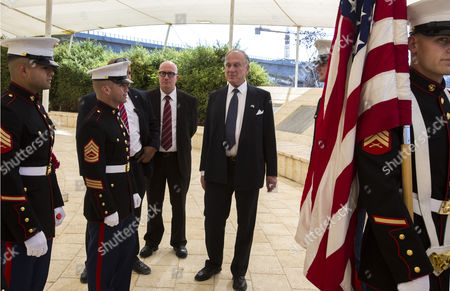 A Photograph Released on 04 October 2016 Shows American Billionaire and World Jewish Congress President Ronald Lauder (c) As He Talks with Us Marines Part of the Contingent of Marines Stationed with the Us Embassy in Tel Aviv As He Attends the 15th Anniversary Memorial For Victims of the 9/11 Terror Attacks Held at a Memorial Just Outside Jerusalem 11 September 2016 It is Reported on 04 October 2016 That Lauder was Taken Aside by a Special Israeli Police Investigating Unit Directly After the Funeral of Shimon Peres As Part of Their Inquiry Into Israeli Prime Minister Benjamin Netanyahu and His Wife Sara on Allegations They Face of Corruption the Couple and Lauder Are Close Friends Israel Jerusalem