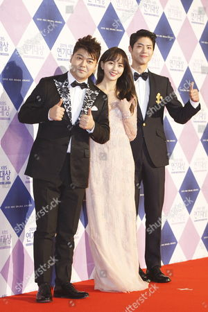 South Korean Mc Jeon Hyun-moo (l) South Korean Actors Kim So-hyun and Park Bo-gum Koo Hea-sun Arrive For the 2015 Annual Kbs Drama Awards at the Kbs Hall in Seoul South Korea 31 December 2015 the Korean Broadcasting System (kbs) Drama Awards Ceremony Gives a Prize to Actors and Actresses who Have Starred in Dramas Aired on Kbs Networks These Awards Started in 1987 and Have Been Presented Ever Since Korea, Republic of Seoul