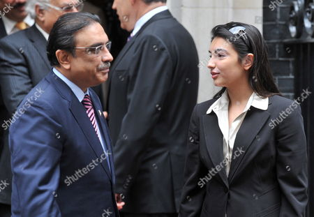 Pakistani President Asif Ali Zardari (l) Speaks with His Daughter Asifa Bhutto Zardari (r) After a Meeting with British Prime Minister Gordon Brown at 10 Downing Street in Central London Britain 28 August 2009 United Kingdom London