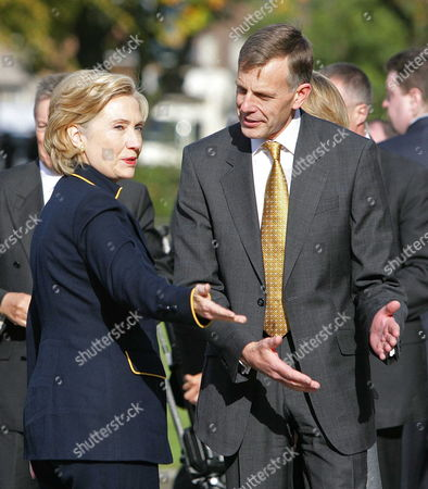 U S Secretary of State Hillary Clinton is Greeted by the Vice-chancellor Professor Peter Gregson As She Arrives at Queens University Belfast Northern Ireland Oct 12 2009 As Part of Her Two Day Visit to Southern and Northern Ireland United Kingdom Belfast