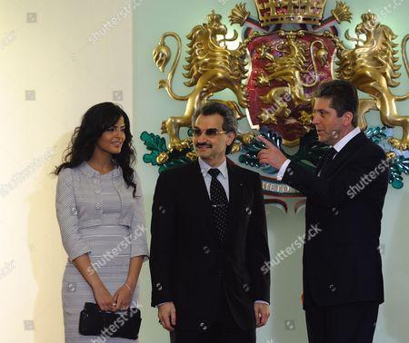 Bulgarian President Georgi Parvanov (r) Speaks with Saudi Prince Al-waleed Bin Talal (c) and His Wife Princess Amira Al-taweelin (l) During Their Meeting in Sofia Bulgaria on 01 July 2009 Saudi Prince Al-waleed Bin Talal Arrived in Sofia For an One Day Visit in Bulgaria Bulgaria Sofia