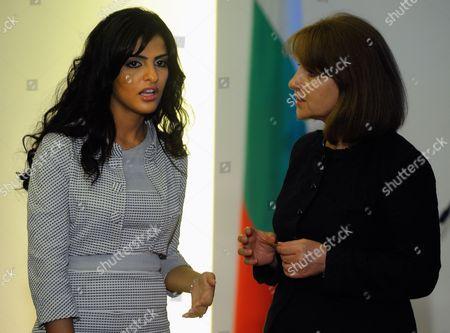 The Wife of Bulgarian President Georgi Parvanov Zorka Parvanova (r) Speaks with Saudi Princess Amira Al-taweelin (l) During Their Meeting in Sofia Bulgaria on 01 July 2009 Saudi Prince Al-waleed Bin Talal Arrived in Sofia For an One Day Visit in Bulgaria Bulgaria Sofia