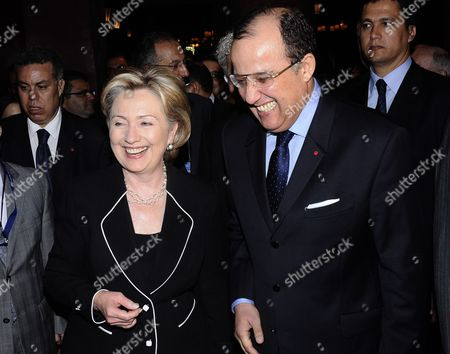Us Secretary of State Hillary Clinton (l) Walks with Moroccan Minister of Foreign Affairs Taib Fassi Fihri (r) at the Mamounia Palace of Marrakech Morocco on 02 November 2009 the Us Top Diplomat is Attending the Sixth Forum For the Future Jointly Organised by Morocco and Italy Morocco Marrakech