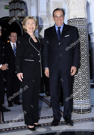 Us Secretary of State Hillary Clinton (l) and Moroccan Minister of Foreign Affairs Taib Fassi Fihri (r) at the Mamounia Palace of Marrakech Morocco on 02 November 2009 the Us Top Diplomat is Attending the Sixth Forum For the Future Jointly Organised by Morocco and Italy Morocco Marrakech