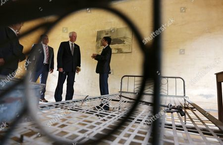 Canadian Foreign Minister Stephane Dion (c) Visits Tuol Sleng Genocide Museum (s-21 Prison) in Phnom Penh Cambodia 02 September 2016 Stephane Dion is on an Official Visit in Cambodia to Tighten Ties and Cooperation Between the Two Countries Cambodia Phnom Penh