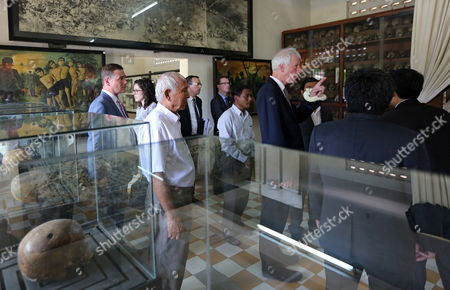 Canadian Foreign Minister Stephane Dion (c-r) Visits Tuol Sleng Genocide Museum (s-21 Prison) in Phnom Penh Cambodia 02 September 2016 Stephane Dion is on an Official Visit in Cambodia to Tighten Ties and Cooperation Between the Two Countries Cambodia Phnom Penh
