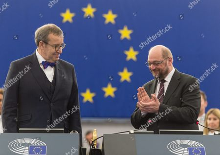 Toomas Hendrik Ilves (l) President of Estonia is Welcomed by Martin Schulz (r) President of the European Parliament Before His Speech in the European Parliament in Strasbourg France 02 February 2016 France Strasbourg