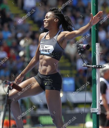Chaunte Lowe of the United States Reacts to Winning the Women's High Jump at the Iaaf Diamond League Prefontaine Classic in Eugene Oregon Usa 28 May 2016 United States Eugene