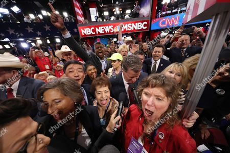 Stock Picture of Colorado Delgate Steve House (2r) Announces Colorado's Votes During the Roll Call of States For the Nomination of Donald Trump on the Second Day of the 2016 Republican National Convention at Quicken Loans Arena in Cleveland Ohio Usa 19 July 2016 the Four-day Convention is Expected to End with Donald Trump Formally Accepting the Nomination of the Republican Party As Their Presidential Candidate in the 2016 Election United States Cleveland