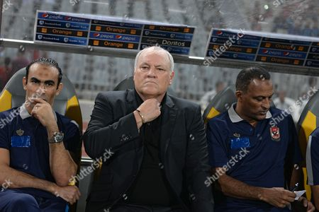 Al Ahlys Dutch Head Coach Martin Jol (c) Reacts During the African Champions League (caf) Group Stage Match Between Al Ahly and Asec Mimosas at Borg Al Arab Stadium in Alexandria Egypt 28 June 2016 Egypt Alexandria