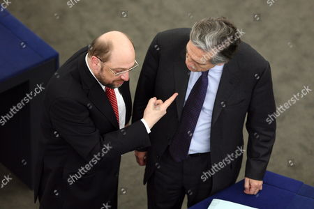 German Martin Schulz (l) Chairman of the Progressive Alliance of Socialists and Democrats in the European Parliament Talks with Secretary of State For the European Union in the Spanish Ministry of Foreign Affairs and Cooperation Diego Lopez Garrido (r) As Both Attend a Debate on Agreement Between the Eu and the Usa on the Processing and Transfer of Financial Messaging Data From the European Union to the United States For Purposes of the Terrorist Finance Tracking Program During the Plenary Session at the European Parliament in Strasbourg France 10 February 2010 Anti-terror Cooperation Between the European Union and the United States Hung in the Balance As the European Parliament Prepared to Debate the Merits of a Deal to Share Data on Bank Transfers Officials Said France Strasbourg