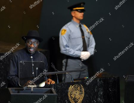 Nigeria President Goodluck Ebele Jonathan Speaks During the General Debate at the 66th Session of the United Nations General Assembly at United Nations Headquarters in New York New York Usa 21 September 2011 Reports on 21 September 2011 State That Palestinian Authority President Mahmoud Abbas is to Present the Palestinian Request to Become the 194th Member of the Un on 23 September After He Addresses the General Assembly the Bid Has to Be Approved by the 15-member Security Council where It Will Almost Certainly Meet with a Veto by the Us United States New York
