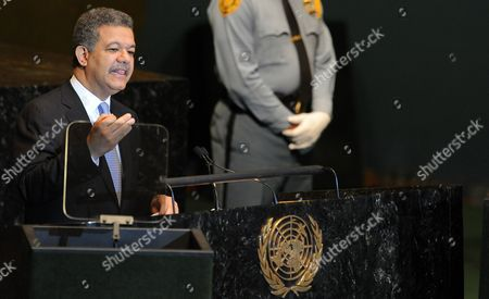 Leonel Fernandez Reyna President of the Dominican Republic Speaks During the General Debate at the 66th Session of the United Nations General Assembly at United Nations Headquarters in New York New York Usa 22 September 2011 World Leaders Have Been Gathering This Week in New York For the Annual Meeting of the Un General Assembly Which Will Focus on Post-gaddafi Libya and the Palestinians' Bid For Statehood Amongst Other Issues United States New York