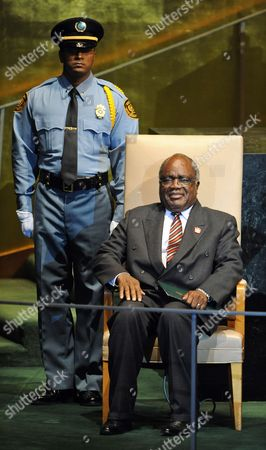 Hifikepunye Pohamba President of the Republic of Namibia Waits to Address the General Debate at the 66th Session of the United Nations General Assembly at United Nations Headquarters in New York City New York Usa 23 September 2011 World Leaders Have Been Gathering This Week in New York For the Annual Meeting of the Un General Assembly Which Has Been Focusing on Post-gaddafi Libya and the Palestinians' Bid For Statehood Amongst Other Issues United States New York