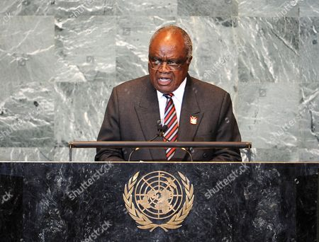 Hifikepunye Pohamba President of the Republic of Namibia Speaks During the General Debate at the 66th Session of the United Nations General Assembly at United Nations Headquarters in New York City New York Usa 23 September 2011 World Leaders Have Been Gathering This Week in New York For the Annual Meeting of the Un General Assembly Which Has Been Focusing on Post-gaddafi Libya and the Palestinians' Bid For Statehood Amongst Other Issues United States New York