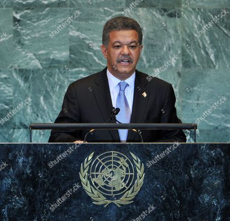 Leonel Fernandez Reyna President of the Dominican Republic Speaks During the General Debate at the 66th Session of the United Nations General Assembly at United Nations Headquarters in New York New York Usa on 22 September 2011 World Leaders Have Been Gathering This Week in New York For the Annual Meeting of the Un General Assembly Which Will Focus on Post-gaddafi Libya and the Palestinians' Bid For Statehood Amongst Other Issues United States United Nations