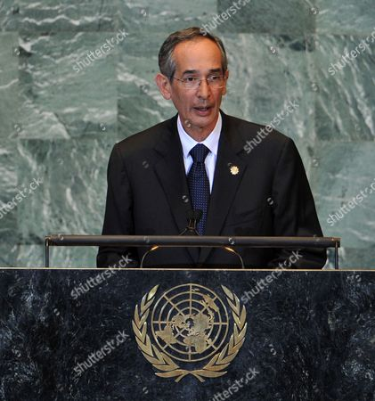 Alvaro Colom Caballeros President of the Republic of Guatemala Speaks During the General Debate at the 66th Session of the United Nations General Assembly at United Nations Headquarters in New York New York Usa on 21 September 2011 Reports on 21 September 2011 State That Palestinian Authority President Mahmoud Abbas is to Present the Palestinian Request to Become the 194th Member of the Un on 23 September After He Addresses the General Assembly the Bid Has to Be Approved by the 15-member Security Council where It Will Almost Certainly Meet with a Veto by the Us United States United Nations