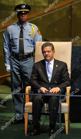 Leonel Fernandez Reyna President of the Dominican Republic Waits to Address the General Debate at the 66th Session of the United Nations General Assembly at United Nations Headquarters in New York New York Usa on 22 September 2011 World Leaders Have Been Gathering This Week in New York For the Annual Meeting of the Un General Assembly Which Will Focus on Post-gaddafi Libya and the Palestinians' Bid For Statehood Amongst Other Issues United States United Nations