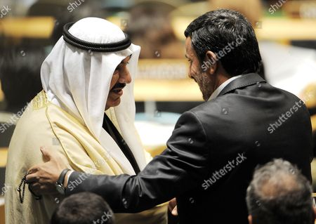 Stock Image of Mahmoud Ahmadinejad (r) President of the Republic of Iran Talks with Sheikh Nasser Al Mohammed Al Ahmed Al-jaber Al Sabah (l) the Prime Minister of Kuwait Before Addressing the General Debate of the 66th Session of the United Nations General Assembly at United Nations Headquarters in New York City New York Usa 22 September 2011 World Leaders Are Gathering This Week in New York For the Annual Meeting of the Un General Assembly Which Will Focus on Post-gaddafi Libya and the Palestinians' Bid For Statehood Amongst Other Issues United States New York