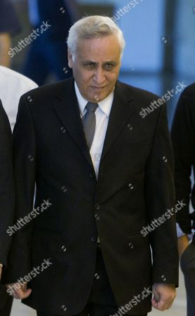 Former Israeli President Moshe Katsav Clenching Both His Fists Walks Into the Supreme Court in Jerusalem Israel 10 November 2011 to Hear Sentencing on His Appeal of Charges of Rape and Sexual Assault the High Court Denied Katsav's Appeal and Withheld the Lower Courts Sentence of Seven Years in Jail in a Hearing That Lasted About an Hour and a Half Katsav is Due to Begin Serving His Jail Time in Early December Israel Jerusalem