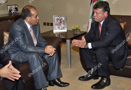 Jordan King Abdullah Ii (r) Meets with Libyan Head of Executive Board of Libya's Ruling National Transitional Council (tnc) Mahmoud Jibril Flowing the Opening Ceremony of World Economic Forum Dead Sea West of Amman Jordan 22 October 2011 the World Economic Forum is Having a Special Meeting on Economic Growth and Job Creation in the Arab World Between 21 and 23 October the Meeting Will Bring Participants From Over the World For Discussions on Best Practices in Economic Policy and Reform and Elaborate Concrete Ways in Which All Stakeholders Can Drive Positive Outcomes Across the Region Jordan Dead Sea