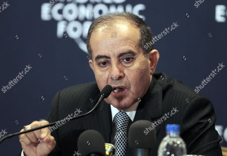 Head of Executive Board of Libya's Ruling National Transitional Council (ntc) Mahmoud Jibril Speaks During a Press Conference on the Second Day of World Economic Forum Dead Sea West of Amman Jordan on 23 October 2011 the World Economic Forum is Having a Special Meeting on Economic Growth and Job Creation in the Arab World Between 21 and 23 October the Meeting Will Bring Participants From Over the World For Discussions on Best Practices in Economic Policy and Reform and Elaborate Concrete Ways in Which All Stakeholders Can Drive Positive Outcomes Across the Region Jordan Dead Sea