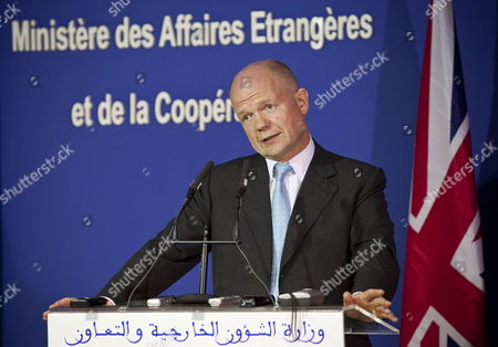 Stock Photo of Britain's Foreign Secretary William Hague Speaks During a Joint News Conference with His Moroccan Counterpart Taieb Fassi Fihri (unseen) After Their Meeting in Rabat Morocco on 17 October 2011 Hague is on an Official Visit to Rabat to Discuss Issues of Mutual Interests with the Moroccan Leadership After Visiting Malta and Libya where He Gave His Support to the Governing National Transitional Council in Tripoli Morocco Rabat