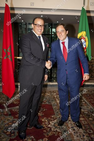 A Picture Made Available on 15 October 2011 Shows Portuguese Foreign Minister Paulo Portas (r) Shakes Hands with His Moroccan Counterpart Taieb Fassi Fihri During Their Meeting in Rabat Morocco 14 October 2011 Paulo Portas is on an Official Visit of Rabat to Discuss Issues of Mutual Interests with Moroccan Leadership Morocco Rabat